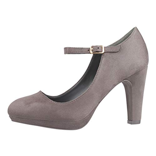 Elara Damen Pumps Riemchen High Heels Vintage Chunkyrayan BL692-PM Grey-38