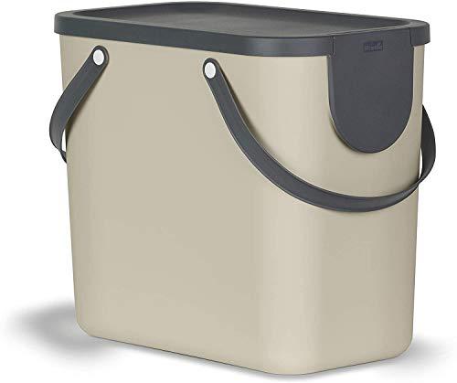 Rotho Albula Mülltrennungssystem 25l für die Küche, Kunststoff (PP) BPA-frei, braun/anthrazit, 25l (40,0 x 23,5 x 34,0 cm)