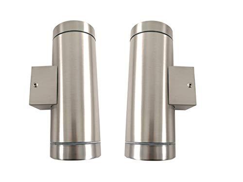 Trango 2er Pack IP44 Up & Down Light in Rund aus Edelstahl gebürstet 2TGBS302 für Innen & Außen, Außenwandleuchte, Außenstrahler, Wandstrahler, Wandleuchte, geeignet für je 2x GU10 LED Leuchtmittel