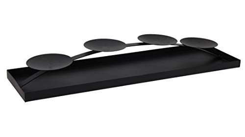 Spetebo XXL Adventskerzenhalter 58 cm aus Metall - Farbe: schwarz - Kerzenhalter für 4 Kerzen