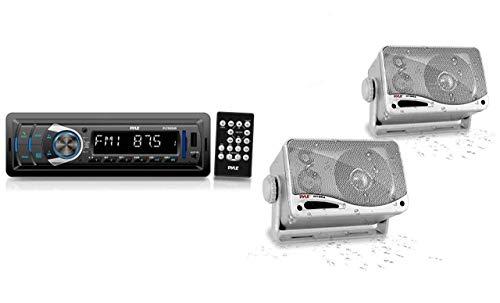 Bluetooth Car Stereo Headunit Receiver - in-Dash Single DIN Stereo Bluetooth Head Unit Receiver System w Hands-Free Calling, AM FM Radio, LCD, MP3 USB SD AUX RCA - Car Bus Truck RV - Pyle PLTR25UB