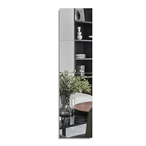 Huimei2Y Full Length Mirror Tiles 12 Inch x 4 Pieces Frameless Wall Mirror for Vanity Bedroom Square