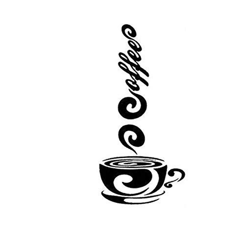 XCGZ Pegatinas De Pared Etiqueta De Texto De La Taza De Café Etiqueta De La Pared del Fondo De La Ventana De La Cafetería