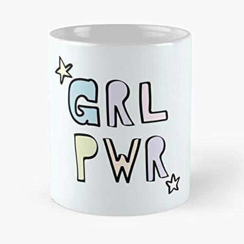 Star Pwr Feminist Girl GRL Stars Power Eat Food Bite John Best Taza de café de cerámica de 325 ml