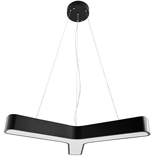 FineBuy LED-Pendelleuchte YPSILON Metall EEK A+ Büro-Deckenlampe schwarz 36 Watt 80 x 107 x 80 cm   Design Arbeitsplatz Hängelampe 3060 Lumen kaltweiß ohne Schirm   Office Pendellampe IP20
