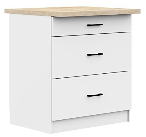 ADGO Oliwia S80 3SZ - Armario de cocina con superficie de trabajo, encimera, armario de pie, estanterías, armario de cocina empotrable, armario de cocina, con asas negras, color blanco