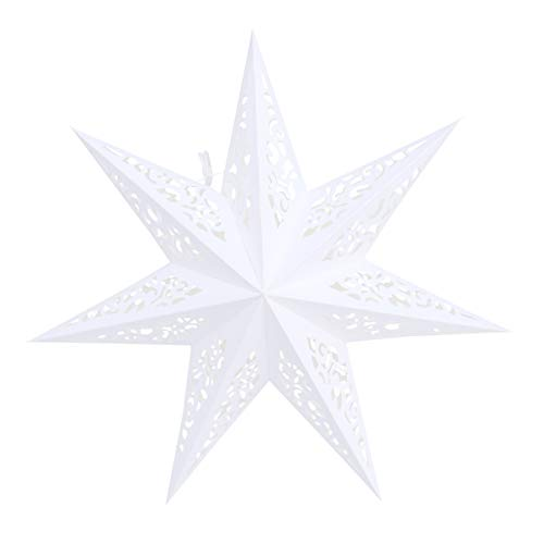 Vosarea Sterne Laterne Papier 45cm hängen Weihnachtsfest Hochzeit Geburtstag Party Wohnkultur aushöhlen Anhänger (weiß)