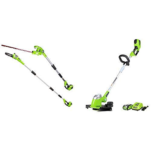 Greenworks 8.5' 40V Cordless Pole Saw with Hedge Trimmer Attachment, Battery Not Included PSPH40B00 with 13-Inch 40V Cordless String Trimmer, 2.0 AH Battery Included 21302