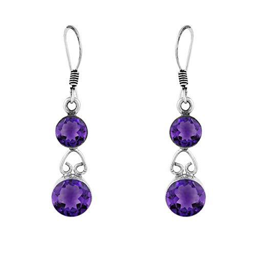 Ronda de opción múltiple Forma de piedras preciosas de plata de ley 925 Pendiente colgante de plata para mujer (Púrpura amatista)