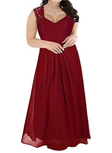 Nemidor Women's Deep- V Neck Sleeveless Vintage Plus Size Bridesmaid Formal Maxi Dress (18W, Wine Red)