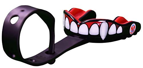 Oral Mart Vampire Fangs Sports Mouth Guard with Strap (Ice Hockey/Football/Lacrosse) - Strapped Mouthguard for Football, Hockey, Lacrosse, College Football (with Free Case)