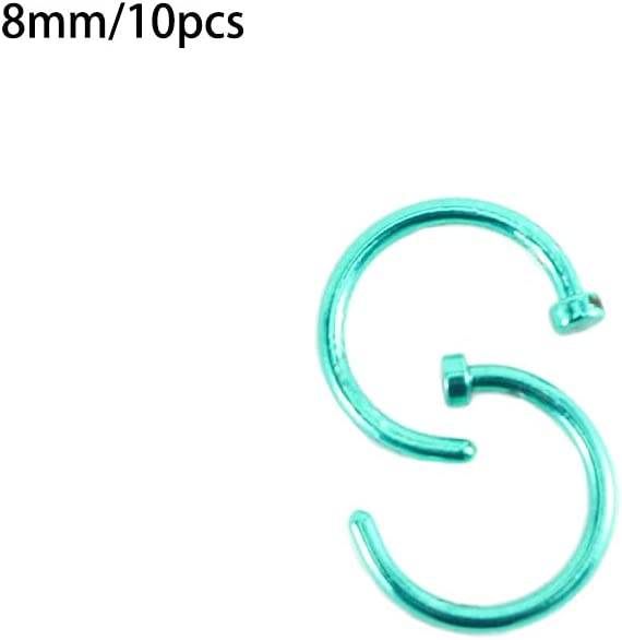 Dongua 10 Pcs Nose Ring, Fashion Stud Earrings Hoop, C Shape Nose Ring Cartilage Hoop, Stainless Steel Lip Rings Piercing Jewelry(8mm,Green)