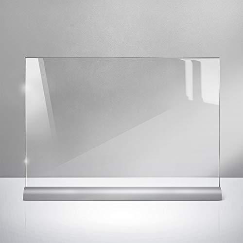 Mobiler Thekenständer Spuckschutz-Niesschutz - Querformat - 42 x 59,4 cm (DIN A2) - 2 mm Polycarbonat klar - von ALUTECH