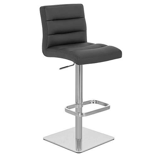 Zuri Furniture Black Lush Square Base Adjustable Height Swivel Armless Bar Stool