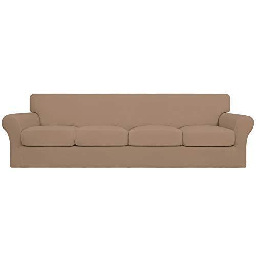 Easy-Going 5 piezas de gran tamaño elástico suave funda de sofá de 4 plazas para perros – Funda de sofá lavable para 4 cojines separados – Protector de muebles elástico para mascotas, niños camello