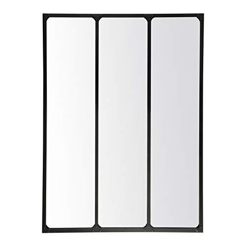 EMDE Miroir Industriel 3 Bandes métal Noir - 90x120 cm