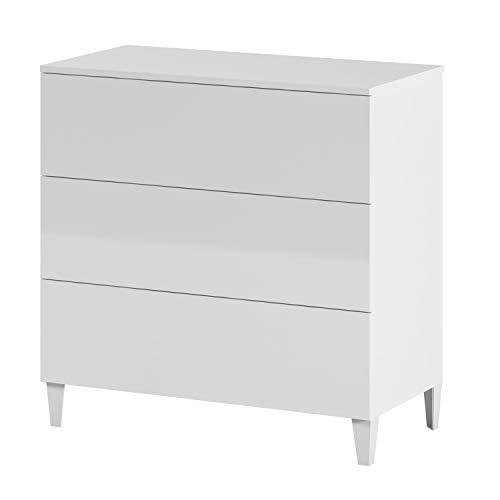Comoda 3 Cajones, Dormitorio, Modelo Loft, Acabado en Color Blanco Brillo, Medidas: 80 cm (Ancho) x 76 cm (Alto) x 40 cm (Fondo)