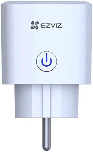 EZVIZ T30 Enchufe Inteligente WiFi con Control Remoto, Smart Plug Mini Tamaño sin Necesidad de Concentrador, Funciona con Móvil, Compatible con Alexa, Amazon Echo & Google Home, T30-B