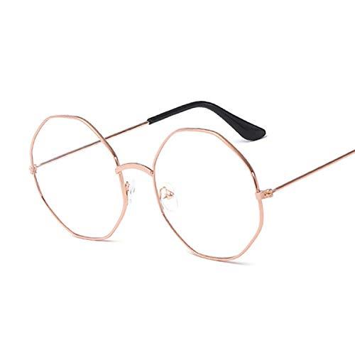 Gafas De Sol Gafas De Mujer Monturas Ópticas Montura De Gafas Octágono De Metal Lente Transparente Gafas Negro Plata Oro Ojo De Cristal-Oro
