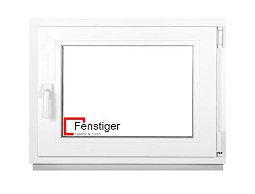 Premium Kellerfenster Von Fenstiger - Kunststofffenster Weiß BxH 600 x 400 mm - Garagenfenster/Gartenhaus Fenster BxH 60 x 40 cm 2-fach Verglast - Din Rechts-Funktion Dreh Kipp Fenster-Alle Größen