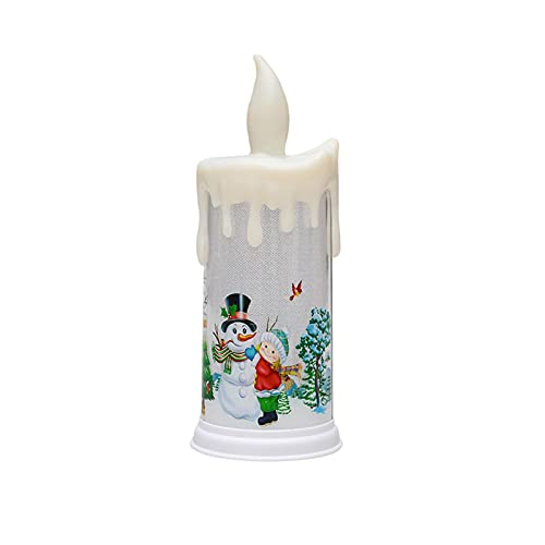 TGUS Vela LED de Navidad, Santa Snowman Patrón LED Candle, Simulación Electrónica Teardrop Candle, Navidad Acción de Gracias Decoración Regalo LED Vela (tamaño: Tipo B)