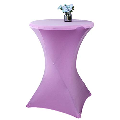 Cocktail Round Tablecloth Spandex Elastic Stretch Decorative Table Cover 24 x 43 Inch Lavender
