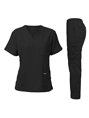 Dagacci Medical Uniform Unisex Women and Men's V-Neck Super Stretch Scrub Set, Black, S
