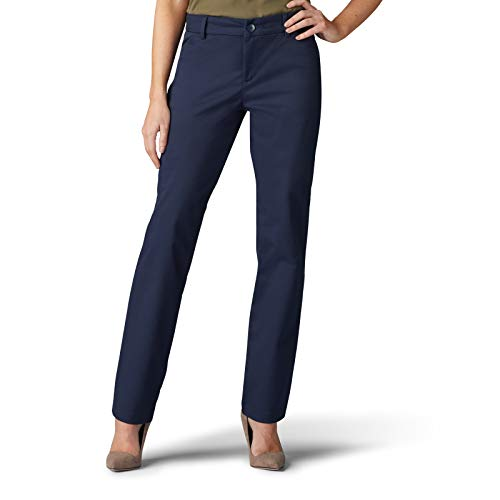 Lee Women's Wrinkle Free Relaxed Fit Straight Leg Pant, Imperial Blue, 12