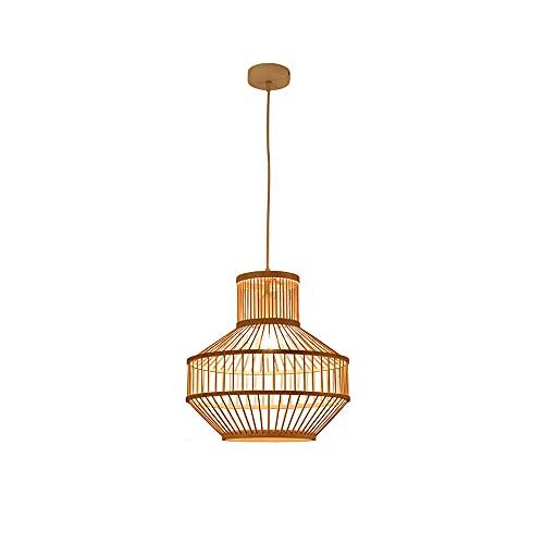 KAIKEA Candelabro de 19.7 pulgadas Luz tejida de bambú creativa Accesorios de iluminación de mimbre ambiental Lámpara Pasillo Balcón Café Lámpara colgante Lámpara de techo E27 Portalámparas Linterna d