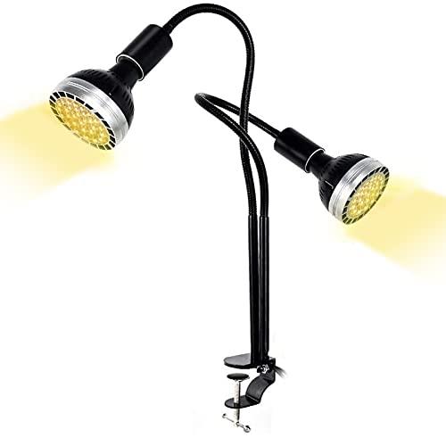 Zwbfu Lâmpada Led Para Plantas De Interior,Full Spectrum Grow Light, LED Grow Lamp para plantas de interior, C-Clamp, Gooseneck ajustável, 2 lâmpadas independentes (US Plug)