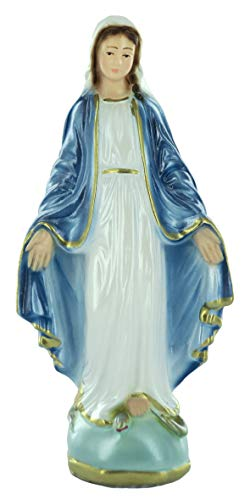 Ferrari & Arrighetti Estatua Virgen Milagrosa en Yeso Perlado Pintada a Mano - 15 cm