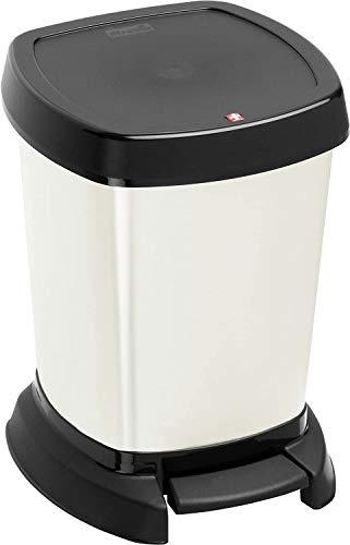 Rotho Paso Mülleimer 6l für das Bad, Kunststoff (PP) BPA-frei, silber metallic, 6l (23,4 x 21,9 x 29,2 cm)
