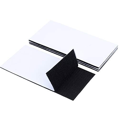 EOTW 4 Stück 100x200mm Klettband Selbstklebend, Starker Halt Klettbänder mit Kleben Beide Seiten Schwarz