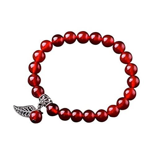 MENGHUA El Nuevo Simple círculo único de ágata roja Pulsera de Puerta étnica Estilo étnico Hoja roja Pulsera de Damas Peace Bead Jewelry