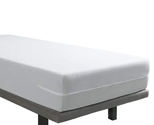 Tural – Funda de Colchón Elástica Rizo de Microfibra Tacto Seda. Talla 90 x 190/200 cm | Protector de colchón con Cremallera | para colchones de 30 cm de Alto