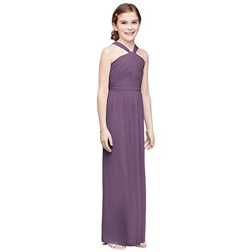 David's Bridal Y-Neck Long Mesh Girls Dress Style JB9597, Wisteria, 12