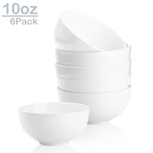 Zoneyila 10 Oz Porcelain Serving Bowl Set,6 Packs Small bowls for Ice Cream, Dessert, Small Side Dishes, Anti Slip, White