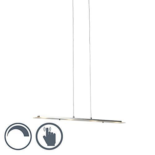 QAZQA Design/Modern Hängeleuchte aus Stahl/Silber/nickel matt mit Glasplatte inkl. LED mit Touchdimmer - Platin/ 4-flammig Touch-funktion Dimmer/Dimmbar/Innenbeleuchtung/Wohnzimmerlampe/S