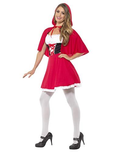 Smiffys-44685X1 Disfraz de Caperucita Roja, con Vestido Corto y Capa, Color Rojo, XL-EU Tamaño 48-50 (Smiffy