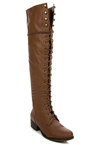 Breckelle's Alabama-12 Over The Knee Riding Oxford Boots