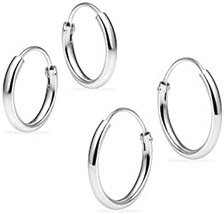 Set of 2 Pairs Sterling Silver 10mm & 12mm Tiny Small Thin Round Endless Unisex Hoop Earrings for Cartilage, Nose or Lips