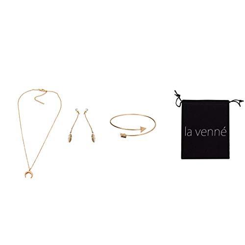 Yowablo Damenmode Halskette Ohrringe Armband Dreiteiliger Charm Halskette Schmuck Für Geschenk 2019 (Gold)