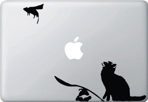 The Ratapult - Cat Launching Rat - Vinyl Laptop or Macbook Decal (BLACK)