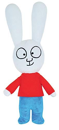 JEMINI - Simon coniglietto in peluche +/-27 cm, colore: Bianco/Blu/Rosso