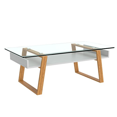 bonVIVO - Table Basse Design Donatella Table Basse scandinave Blanc Table de Salon en Verre avec Cadre en Bois Naturel