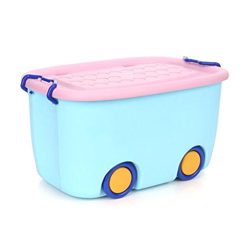 OUNONA - Caja de Almacenamiento apilable para Guardar cerraduras de plástico para niños Juguetes de bebé, Libros de Ropa (Azul)