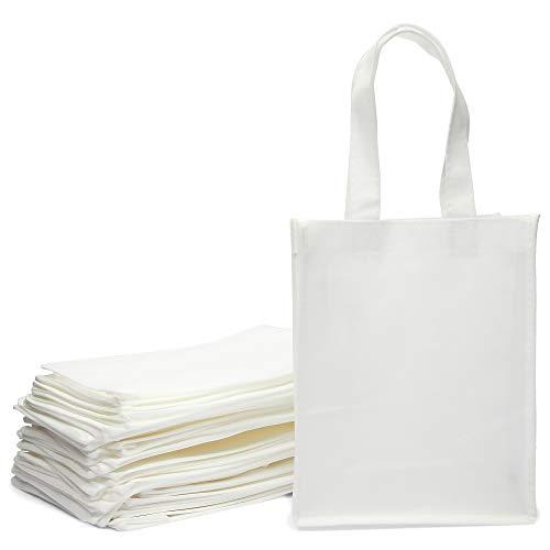 不織布トートバッグ ショッピングや食料品用 ホワイト 8 x 10 x 4インチ 24パック
