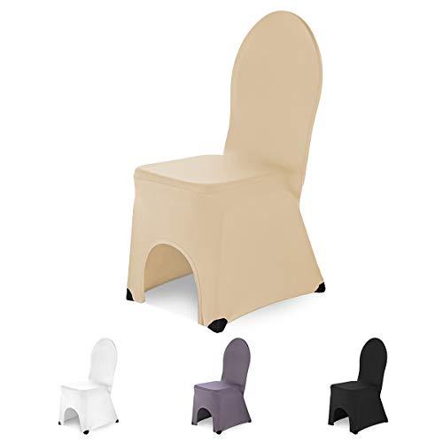 SCHEFFLER-Home Bella Bankett Stuhlhusse Stretch, Stuhlabdeckung elastisch, Husse Spannbezug mit Fuß Kappen, Champagner