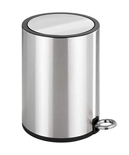 Wenko Kosmetik Treteimer Monza 3 Liter, Edelstahl rostfrei, Badezimmer-Mülleimer mit Absenkautomatik, kleiner Abfalleimer, integrierter Beutelhalter, 18,5 x 25,5 x 24,5 cm, glänzend