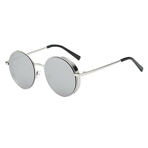 SDENSHI Lentes de Espejo para Mujer Diseñador Retro Vintage Hippie Hipster Gafas de Sol Redondas - Estilo 1-Blanco